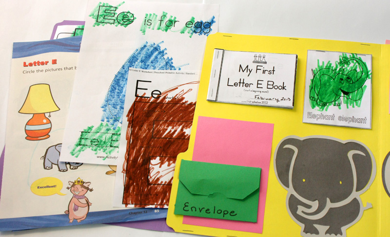 Letter E Lapbook Inside left showing worksheets