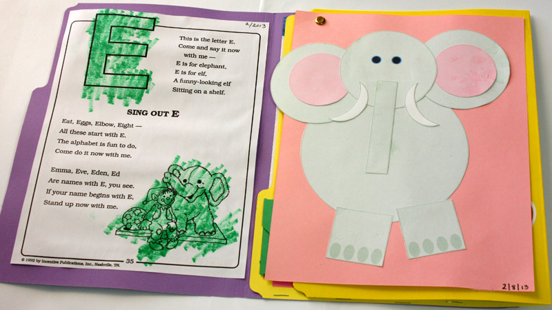 Letter E Lapbook Open Elephant