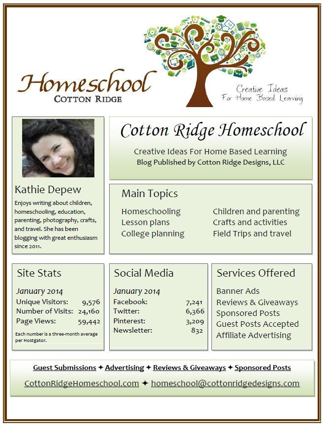 Cotton Ridge Homeschool Media Kit January 2014