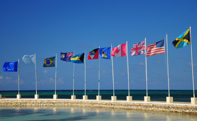 International Flags On Pier by Loren Sztajer on flickr