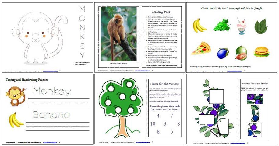 Monkey Free Printables Collage 1