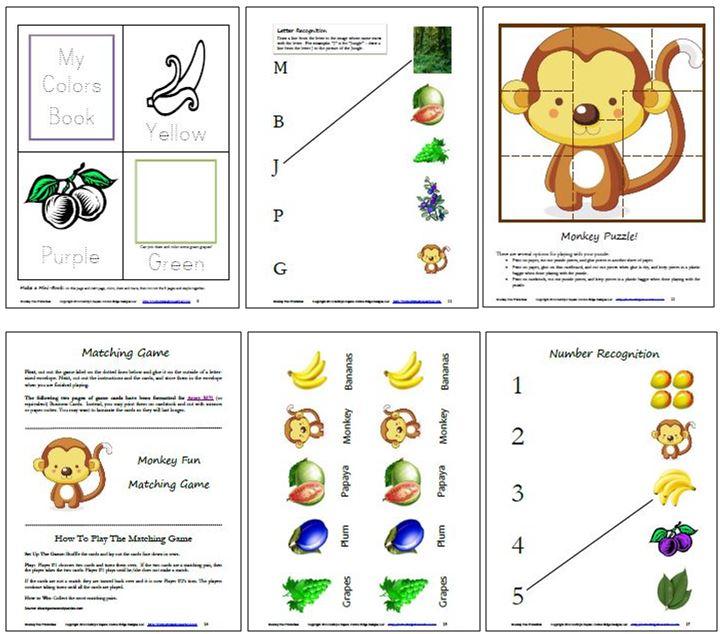 Monkey Free Printables Collage 2