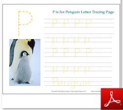 Penguin Tracing Page