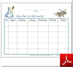 Winter Lesson Plan Chart with Subject Time
