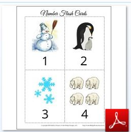 Winter Number Flash Cards