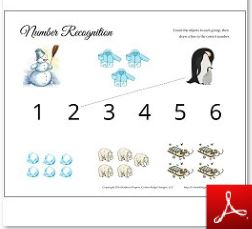 Winter Printables Number Recognition