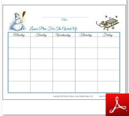 Winter Simple Lesson Plan Chart 2