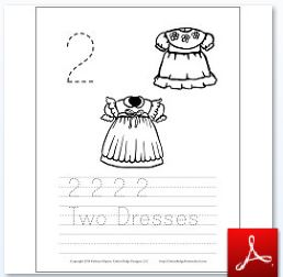 2 Dresses Coloring Tracing Page