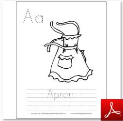 Apron  Coloring Tracing Page