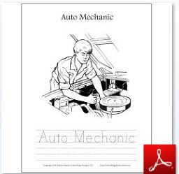 Auto Mechanic Coloring Tracing Page