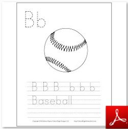 Baseball Coloring Tracing Page