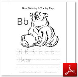 Bear Coloring Tracing Page