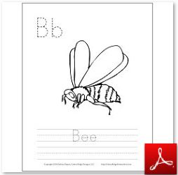 Bee Coloring Tracing Page