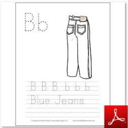 Blue Jeans Coloring Tracing Page