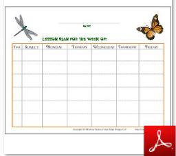 Bugs and Butterflies Lesson Plan with Subject Time