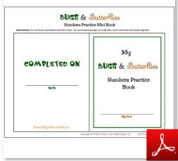 Bugs and Butterflies Numbers Practice Book