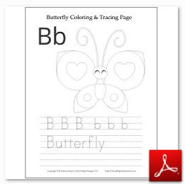 Butterfly Coloring Tracing Page