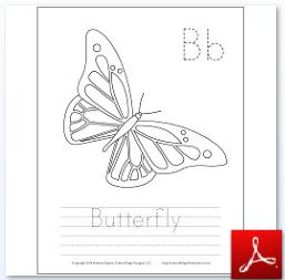 Butterfly Coloring Tracing page 2