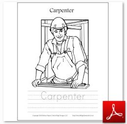 Carpenter Coloring Tracing Page