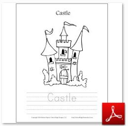 Castle Coloring Tracing Page