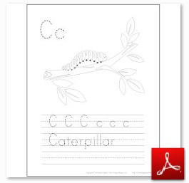 Caterpillar Coloring Tracing Page
