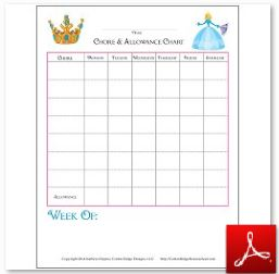 Chore and Allowance Chart Fill In
