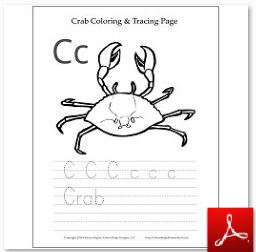 Crab Coloring Tracing Page