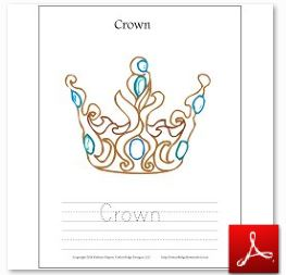 Crown Coloring Tracing Page