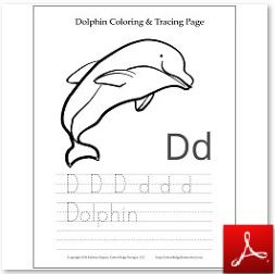 Dolphin Coloring Tracing Page