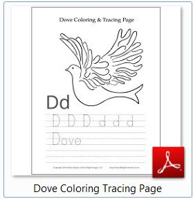 Dove Coloring Tracing Page