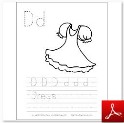Dress Coloring Tracing Page