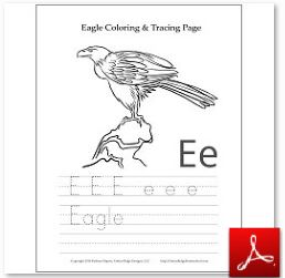 Eagle Coloring Tracing Page