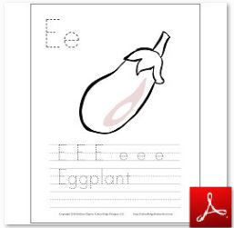 Eggplant Coloring Tracing Page