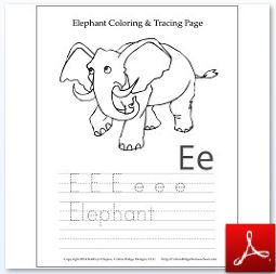 Elephant Coloring Tracing Page