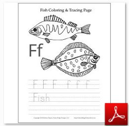 Fish Coloring Tracing Page
