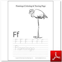 Flamingo Coloring Tracing Page