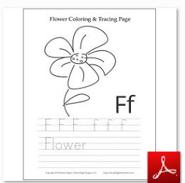 Flower Coloring Tracing Page