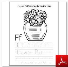 Flower Pot Coloring Tracing Page