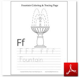 Fountain Coloring Tracing Page