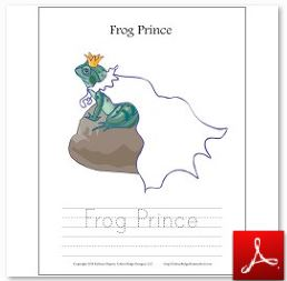Frog Prince Coloring Tracing Page