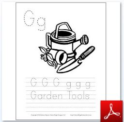 Garden Tools Coloring Tracing Page