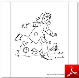Girl in Garden Coloring Page