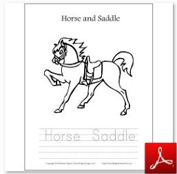 Horse and Saddle Coloring Tracing Page