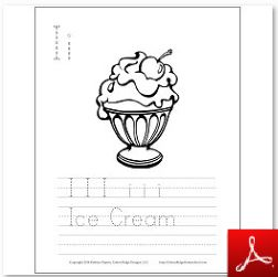 Ice Cream Coloring Tracing Page