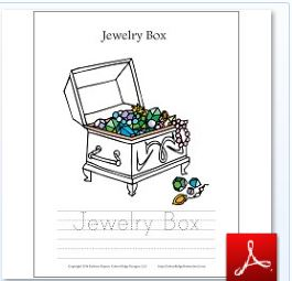 Jewelry Box Coloring Tracing Page