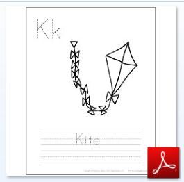 Kite Coloring Tracing Page