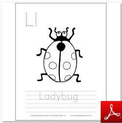 Ladybug Coloring Tracing Page
