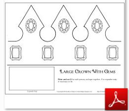 Large Crown with Gems Template