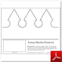 Large Paper Crown and Gems Craft 2 pages