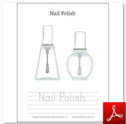 Nail Polish Coloring Tracing Page